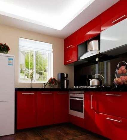 muebles cocina roja